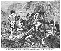 0012248 © Granger - Historical Picture ArchivePREHISTORIC MAN: TOOLS.   Prehistoric men making tools and weapons from flint. Wood engraving, 19th century, after a drawing by Emile Bayard.