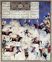 0040165 © Granger - Historical Picture ArchiveA POLO GAME, c1535.   Manuscript illumination from Firdausi's Shah Namah.