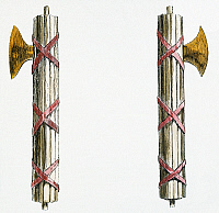 0010887 © Granger - Historical Picture ArchiveFASCES, 19th CENTURY.   The badge of Roman authority, and carried by lictors since the time of Tarquin. Line engraving, 19th century.