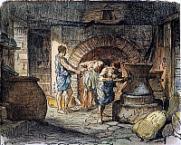 0011085 © Granger - Historical Picture ArchiveROMAN GRAIN MILL AND OVEN.   Roman bakery. Color engraving, 19th century.