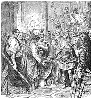 0016946 © Granger - Historical Picture ArchiveEND OF THE ROMAN EMPIRE.   Odoacer, King of the Heruli, compels the boy Emperor Romulus Augustulus to yield the crown of the Western Roman Empire to him in Rome in 476 A.D. Wood engraving, 19th century.