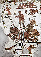 0021768 © Granger - Historical Picture ArchiveROMAN MOSAIC: 5th CENTURY.   Roman mosaic of a horse and chariot race in a circus. Gafsa, Tunisia, 5th century A.D.