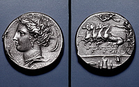 0042133 © Granger - Historical Picture ArchiveROMAN COIN: ARETHUSA.   Silver decadrachm of Syracuse, c395 B.C. Obverse: head of Arethusa. Reverse: four horse chariot.