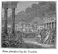 0043433 © Granger - Historical Picture ArchiveVANDAL INVASION OF ROME.   'Rome plundered by the vandals,' 455 A.D. Wood engraving, American, c1839.