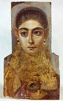 0051903 © Granger - Historical Picture ArchiveROME: FUNERAL PORTRAIT.   Funeral portrait of a woman. Encaustic on wood, 2nd century from Fayum, Egypt.