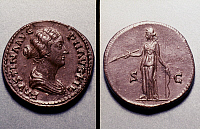 0053178 © Granger - Historical Picture ArchiveROMAN COIN: FAUSTINA II.   Faustina II, wife of Marcus Aurelius, on a Roman brass dupondius. Reverse: Diana the Huntress.
