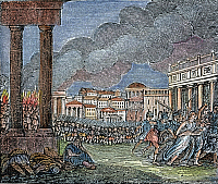 0057433 © Granger - Historical Picture ArchiveANCIENT ROME PLUNDERED   by the Vandals: wood engraving, American, 1830.