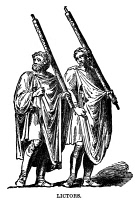 0065960 © Granger - Historical Picture ArchiveROMAN LICTORS.   Lictors carrying fasces in the time of Tarquin. Wood engraving, 19th century.