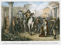 0068007 © Granger - Historical Picture ArchiveFALL OF ROME, 476.   Romulus Augustulus (b.461?), last Roman emperor of the West, deposed by Odoacer in 476. Wood engraving, 19th century.