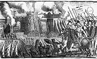0078628 © Granger - Historical Picture ArchiveROME: SIEGE OF JERUSALEM.   The Temple in Jerusalem being set afire by the Roman forces under Emperor Titus in 70 A.D. Line engraving from an 18th century English edition, of Flavius Josephus' 'Works.'