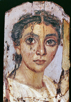 0094690 © Granger - Historical Picture ArchiveROME: FUNERAL PORTRAIT.   Funeral portrait of a woman from Fayum, Egypt, 2nd or 3rd century.