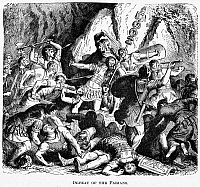 0095692 © Granger - Historical Picture ArchiveBATTLE OF THE CREMERA.   Defeat of the Fabians at the Etruscan city of Veii, during the Battle of the Cremera, c477 B.C. 19th century line engraving.