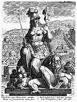 0100780 © Granger - Historical Picture ArchiveALLEGORY: ROMAN EMPIRE.   Allegorical depiction of the rise and fall of the Roman Empire. Line engraving.