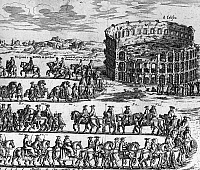 0124682 © Granger - Historical Picture ArchiveROME: PROCESSION.   Procession of Pope Clement XI in Rome. Line engraving by Lorenzo Filippo de Rossi, 1701.
