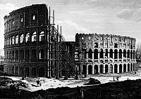 0124850 © Granger - Historical Picture ArchiveROME: COLOSSEUM, c1864.   Scaffolding on the Colosseum in Rome, Italy. Line engraving, c1864.