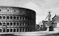 0124856 © Granger - Historical Picture ArchiveROME: COLOSSUS OF NERO.   Reconstruction of the Colossus of Nero and the Colosseum in ancient Rome. Line engraving, Italian, 1831.