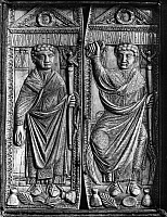 0131059 © Granger - Historical Picture ArchiveROMAN DIPTYCH: CONSUL.   Ivory consular diptych of Flavius Manlius Boethius, consul at Rome in 487 A.D. during the reign of Odoacer, and father of the philosopher Boethius. At his feet are bags of money to be distributed to the people, and in the panel at right, he gives the signal to start a chariot race.