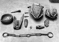 0131239 © Granger - Historical Picture ArchiveROMAN MINING EQUIPMENT.   Artifacts used in the mines of Spain under the Roman Empire, 2nd century B.C.-4th century A.D., including picks, wedges, hammers, and a slave's fetter.