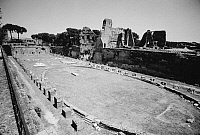 0260750 © Granger - Historical Picture ArchiveROME: PALATINE HILL.   Ruins of the hippodrome of the Flavian Palace, built under Emperor Domitian c92 A.D., on the Palatine Hill in Rome.