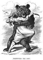 0002529 © Granger - Historical Picture ArchiveRUSSO-TURKISH WAR, 1877.   'Tightening the grip.' English cartoon of 1877 showing the Russian bear tightening its grip on an inadequately armed Turkey, which would soon surrender to Russian forces at Pleven, Bulgaria.