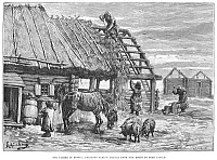 0004805 © Granger - Historical Picture ArchiveRUSSIA: FAMINE, 1892.   'The famine in Russia: peasants taking thatch from the roofs to feed cattle.' Wood engraving from an English newspaper, 1892.