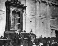 0006136 © Granger - Historical Picture ArchiveRUSSIA: REVOLUTION OF 1917.   The first session of the Duma of the Provisional Government, March 1917. The empty frame behind the speaker's platform formerly held the Czar's portrait.