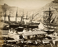 0014861 © Granger - Historical Picture ArchiveCRIMEAN WAR: BALAKLAVA, 1855.   A view of Cossack Bay, Balaklava, during the Crimean War. Photograph by Roger Fenton, 1855.