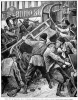 0015743 © Granger - Historical Picture ArchiveRUSSIAN REVOLUTION OF 1905.   Cossacks attacking St. Petersburg sleigh drivers and their barricade of sleighs, 22 January 1905. Contemporary drawing.