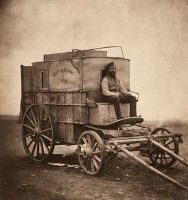 0017042 © Granger - Historical Picture ArchiveCRIMEAN WAR: DARKROOM, 1855.   Roger Fenton's photographic darkroom on wheels which was used in the Crimean War, the first war to be photographed. Marcus Sparling, Fenton's assistant, is pictured. Photograph, 1855.