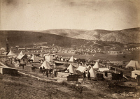 0029554 © Granger - Historical Picture ArchiveCRIMEAN WAR: DRAGOONS, 1855.   The camp of the Fifth Dragoon Guards, looking toward the Kadikoy district of Istanbul. Photograph by Roger Fenton, 1855.