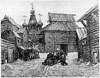 0129269 © Granger - Historical Picture ArchiveMOSCOW, 14th CENTURY.   Street in Moscow, Russia in the 14th century. Drawing by Apollinary Vasnetsov, 1907.