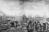 0129325 © Granger - Historical Picture ArchiveMOSCOW: RED SQUARE, c1762.   Market in the Red Square in Moscow, Russia. Line engraving, c1762.