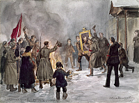 0129373 © Granger - Historical Picture ArchiveRUSSIAN REVOLUTION, 1917.   An angry crowd carrying a portrait of Czar Nicholas II to a bonfire in Petrograd following the February Revolution (March 1917). Watercolor, 1917.