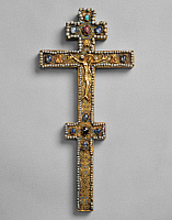 0129501 © Granger - Historical Picture ArchiveRUSSIAN ALTAR CROSS, 1562.   Gold altar cross with precious stones, pearls, filigree and enamel. Commissioned by Czar Ivan IV and donated to the Solovetsky Monastery, 1562.
