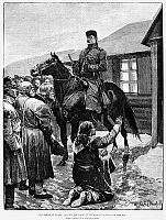 0176172 © Granger - Historical Picture ArchiveRUSSIA: FAMINE, 1892.   'The Famine in Russia: Begging for bread at the mayor's house, near Simbirsk. From a sketch by a Russian officer.' Engraving by R. Caton Woodville.