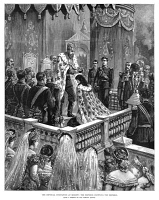 0354557 © Granger - Historical Picture ArchiveRUSSIA: CORONATION, 1883.   Czar Alexander III crowning his wife, Empress Maria Feodorovna, in Moscow, 27 May 1883. Contemporary English engraving.