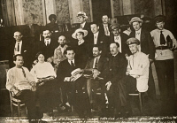 0528815 © Granger - Historical Picture ArchiveALL-RUSSIAN CONGRESS, 1918.   Bolshevik delegates at the Fifth All-Russian Congress of Soviets in Moscow. Seated in the front row, third and fourth from left, are Grigory Zinoviev and Yakov Sverdlov. Photograph, July 1918.