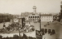 0528818 © Granger - Historical Picture ArchiveMOSCOW, c1918.   Bolsheviks gathered at Sovetskaya Square in Moscow, in front of a newly erected box on the site where the monument to Russian war hero Mikhail Skobelev once stood. Photograph, c1918.