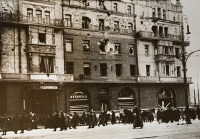 0528824 © Granger - Historical Picture ArchiveMOSCOW, c1918.   Hotel Metropol in Moscow, partially destroyed during the October Revolution. Photograph, c1918.