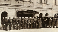 0528827 © Granger - Historical Picture ArchiveRED GUARD, 1918.   The Red Guard outside of the state bank in Petrograd, Russia. Photograph, October 1918.