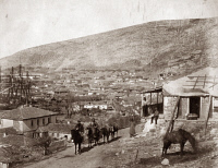0622367 © Granger - Historical Picture ArchiveCRIMEAN WAR: BALAKLAVA.   The city of Balaklava during the Crimean War, with military installations in the background. Photograph by Roger Fenton, 1855.