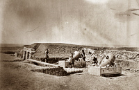 0622369 © Granger - Historical Picture ArchiveCRIMEAN WAR: MORTARS, 1855.   A mortar battery and crew near a reinforced shelter during the Crimean War. Photograph by Roger Fenton, 1855.
