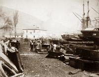 0622370 © Granger - Historical Picture ArchiveCRIMEAN WAR: BALAKLAVA.   Landing area at the wharf in the harbor of Balaklava during the Crimean War. Photograph by Roger Fenton, 1855.