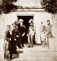 0622371 © Granger - Historical Picture ArchiveCRIMEAN WAR: HEADQUARTERS.   The headquarters British Field Marshal Baron Ragland during the Crimean War. From left to right: Lord Burghersh, aide-de-camp, Colonel Vico, Raglan, Marshal Aimable Pélissier, and another aide-de-camp. Photograph by Roger Fenton, 1855.