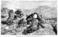 0052266 © Granger - Historical Picture ArchiveSOUTH AFRICA: MAJUBA, 1881.   'The Transvaal War: All that we saw of the Boers at Majuba Hill.' British soldiers hiding from Boer fire at the Battle of Majuba Hill, 27 February 1881. Contemporary wood engraving from an English newspaper.