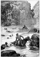 0099590 © Granger - Historical Picture ArchiveZULU WAR: RETREAT, 1879.   Retreat of British soldiers across the Buffalo River following their defeat at the Battle of Isandlwana, 22 January 1879. Wood engraving from a contemporary English newspaper.