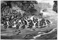 0099591 © Granger - Historical Picture ArchiveZULU WARRIORS, 1879.   Zulu warriors crossing a river during the Zulu War in South Africa. Wood engraving, 1879.
