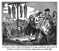 0323283 © Granger - Historical Picture ArchiveSCOTLAND: PERSECUTION, 1543.   A woman and her infant drowned in a river, and four men hung for eating a goose on All Hallow's Eve, a fast day in Scotland, 1543. Wood engraving from the 'Book of Martyrs,' by John Foxe, 1840.