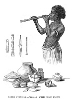 0268088 © Granger - Historical Picture ArchiveFIJI: UTENSILS, 1873.   Fijian utensils and a woman playing a nose flute. Engraving, English, 1873.