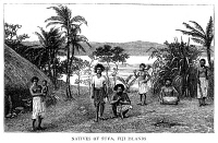 0353518 © Granger - Historical Picture ArchiveFIJI: SUVA, 1885.   Natives of Suva, Fiji. Wood engraving, English, 1885.